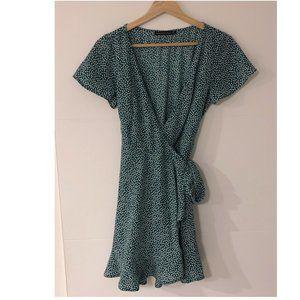 Short-Sleeve Ruffle Wrap Mini Dress